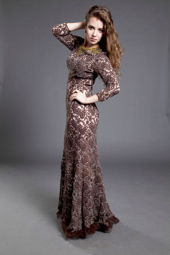 Lace Sheath/Mermaid Dress with Sleeves Vintage  Style