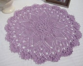 Lilac sunburst crocheted puff stitch pineapple table topper