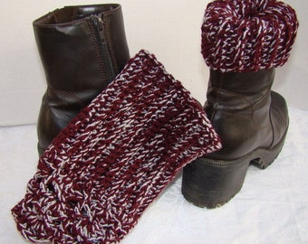 Cranberry and silver hand crocheted winter warm boot cuffs with scallop edging
