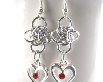 Heart of Persephone Chainmaille Earrings