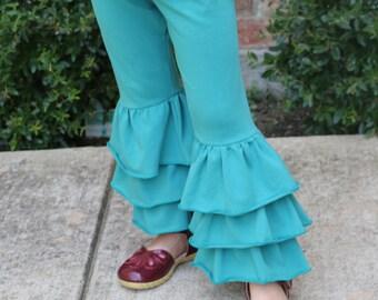 Jungle green triple ruffle leggings sizes 12m - 14 girls