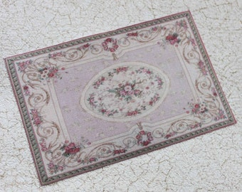 Miniature Aubusson Dollhouse Rug in Pale Pink With Roses and Daisies 1:12 Scale