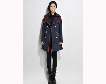 Classic Wool Long Coat with Linen edges/ 8 Colors/ RAMIES