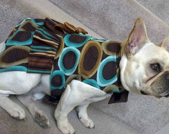 French Bulldog Dress in Turquoise and Brown Ovals and Stripes