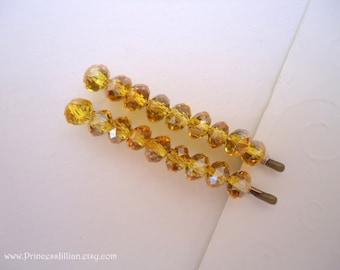 Crystals Beaded bobby pins - Canary yellow aurora borealis crystals TREASURY ITEM