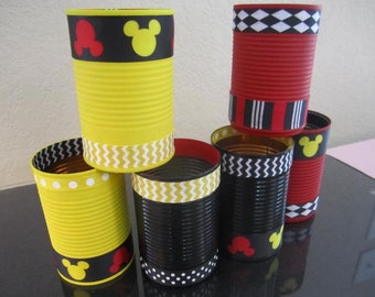 Set of (6) MICKEY MOUSE Tin CANS