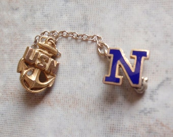 USN Sweetheart Pin Chained Tiny Brass Monogram N Navy Military Vintage Estate E0014