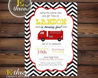 Printable Fire Truck Invitation - Fireman Boys Party Invitation - Red, Black, Yellow Chevron