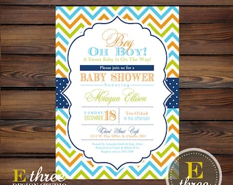 Baby Boy Shower Invitation - Chevron, Navy, Aqua, Orange, Green - Shower Invite