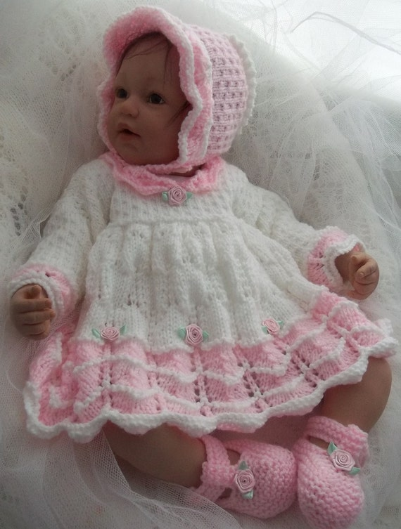 Baby Knitting Pattern Girls or Reborn Dolls Scalloped Dress, Bonnet & Boo...