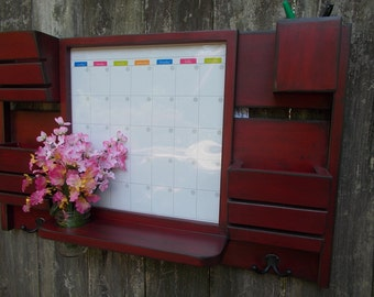 Chalk Board 3 Slot Mail Organizer--Large Message Center--Wall Decor--Entry Way Decor-- Kitchen Decor