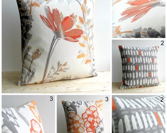 Pillow Cover, Cushion Cover, Pillow Sham, Throw Pillow cover, Pillow Case, 18 Inch, 18x18 - Orange Grey Collection