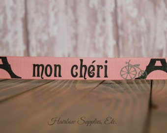 Mon Cheri Paris Eiffel Tower 5/8 Printed Grosgrain Ribbon - High Quality