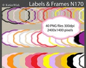 Modern Labels and Frames Digital Clip Art PNG files CU for journaling, digital scrapbooking, invites