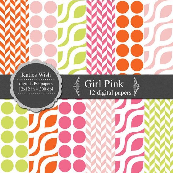 Digital Paper Kit Girl Pink 12x12 inch Instant Download