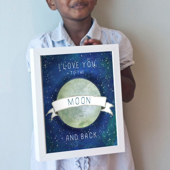 I Love You to the Moon and Back print in blue, gray, and white