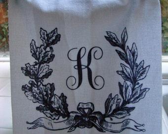 Personalized Monogram Initial tea towel - Custom printed, you pick letter - laurel leaf  towel - Tea towel- super cute flour sack towel