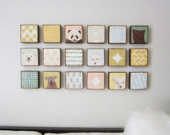 art for babies room or nursery- set of 18- 5x5 wood art blocks- art for kids room- nursery decor- redtilestudio