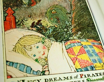 Lucy Dreams of Pirates and Sea Monsters Original 1928 Two Page Spread for Framing Lucy Locket The Doll with the Pocket Color Collage Art