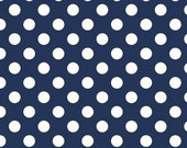 SALE - One Yard - Medium Dots in Navy by Riley Blake - Cream dots on Navy - La Creme