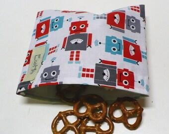 Reusable Snack Bag - Reusable Baggie - Robot Snack Bag - Fabric Snack Bag - Reusable Fabric Snack Bag - Robots