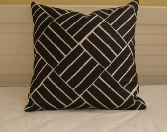 LULU DK Plantation in Chocolate Brown and White Linen Designer Pillow Cover - Square, Euro and Lumbar Pillow Cover