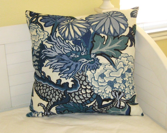 OUTDOOR Schumacher Chiang Mai Dragon in China Blue Designer Pillow Cover