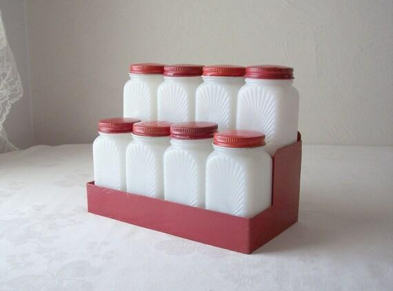 Vintage White Milk Glass Spice Jars Red Tin Lids Tin Shelf
