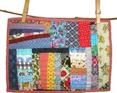 """String Pieced Mini Quilt Made from 20th c. Vintage Fabric Scraps, Hand Pieced, Hand Quilted, 12""""(30.5cm) X 8 1/4""""(21cm), Free US Shipping"""