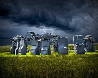 A Stormy Car Henge in Alliance Nebraska modeled after England's Stonehenge A Fine Art Landscape Photograph