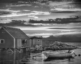 Sunset's Last Light at Peggy's Cove Fishing Village Harbor in Nova Scotia Canada No.BW A Black and White Fine Art Seascape Photograph