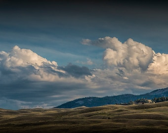 Billowing Clouds over the Mountains by Gardiner Montana in the Yellowstone National Park No. 6337 - A Nature Landscape Photograph