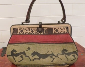 Obscure 60's Vintage Linen & Leather Handbag Made in Italy *Unused*