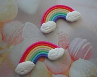 Kawaii clay rainbow cabochon decoden diy charm  2 pcs---USA seller