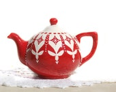 Christmas Red Teapot for Holidays, Tea Lover, Kitchen Gift, Gift for her
