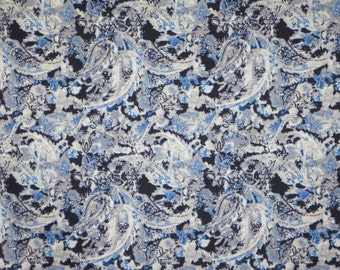 Muted Indigo Paisley Print Stretch Cotton Sateen Fabric--One Yard