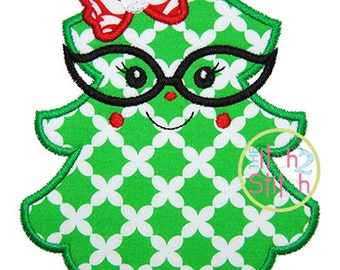 Christmas Tree Glasses Applique,  Sizes 4x4, 5x7, & 6x10, INSTANT DOWNLOAD available