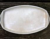 Handmade Pottery Tray - White Burlap - Ceramic Appetizer Platter - Serving Tray