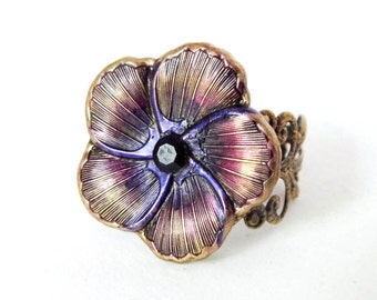 Victorian floral ring, Art Nouveau ring, pansy ring, adjustable ring, dress ring, victorian jewelry, flower ring, purple flower