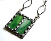 Stained Glass Necklace Green Jewelry Industrial Chic Jewelry Tiffany Technique Green Stained Glass Jewelry Gunmetal Silver (210-8)