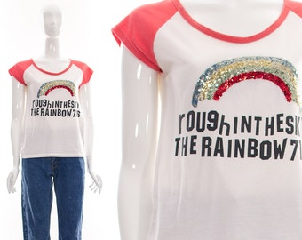 Vintage 70s Rough in the Sky SEQUIN RAINBOW Cap Sleeve Ringer Tee Small Medium