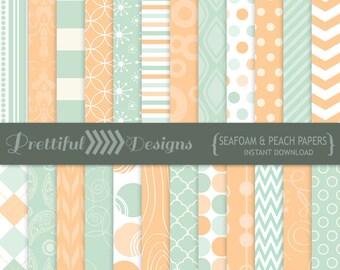Digital Paper Seafoam and Peach Background Scrapbook Pattern - CU Ok