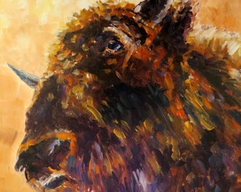 American Buffalo  bull cattle  cow Giclee CANVAS PRINT  Made in America print of original oil painting by Sandra Cutrer Fine Art