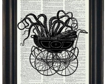 BOGO 1/2 OFF Sale Steampunk Octopus Baby Carriage Print Vintage Dictionary Book Art Page Print Dictionary Art Print  Picture Wall Decor