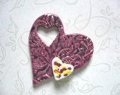 The Unusual - Peppered Raspberry Heart 3D Ceramic Pendant