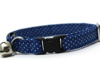 Royal Blue Pin Dots Cat Collar