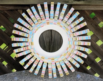 Distressed Wooden Clothespin Wreath Beachhouse Door Decor White Red Pink Green Yellow Blue Stripes Coastal/Beach Shabby Chic Wall Decor
