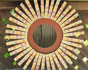 Retro Beach Wooden Clothespin Wreath Beachhouse Door Decor Polka Dots Teak Orange Burgundy Cream Sage Sunshine Wall Decor Summer Flair