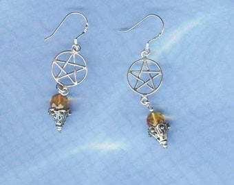 Pentacle Pentagram Earrings Faceted REAL Baltic Amber & Sterling Silver Wiccan Jewelry P791-FacAmb