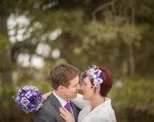 Bridal Feather Hair Clip, Bridal Fascinator, Feather Fascinator, Fascinator, Hair Clip, Ivory and Purple